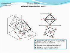 Dibujo técnico  Sistema diédrico  2.º Bachillerato  Octaedro apoyado por un vértice  1. Se construye la proyección horizon...