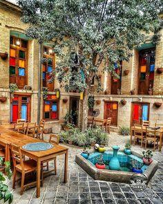 Outdoor Cafe, Outdoor Retreat, Backyard Retreat, Outdoor Living, Persian Architecture, Beautiful Architecture, Cafe Design, House Design, Persian Decor