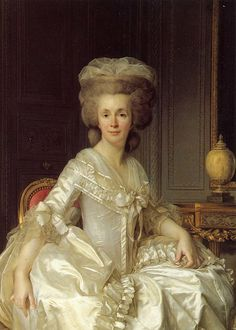 Portrait of Madame Necker by Jean-Sifred Duplessis (Chateau de Coppet, Coppet Switzerland).    Suzanne Necker was the wife Louis XVI's Finance Minister and one of the most celebrated salon hostesses in pre-Revolutionary Paris. She was also the mother of Madame de Stael, famous writer, proponent of women's rights, and thorn in the side of Napoleon Bonaparte. ~leahmariebrown