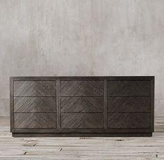 Home Decorators Luxury Vinyl Plank Herringbone Wood Floor, Herringbone Pattern, Grey Vinyl Plank Flooring, Grey Bedroom Design, Brick Room, Waterfall House, 9 Drawer Dresser, Dressers, Master Bedroom Makeover