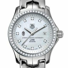 """Johns Hopkins University TAG Heuer Watch - Women's Link with Diamond by TAG Heuer. $5195.00. Officially licensed by Johns Hopkins University. Unique TAG Heuer presentation box.. Swiss-made Quartz movement.. Authentic TAG Heuer watch only at M.LaHart & Co.. TAG Heuer international two-year warranty. Johns Hopkins University TAG Heuer women's Link watch with Johns Hopkins shield on brilliant diamond dial; """"Johns Hopkins University"""" is written underneath. Sparkling po..."""