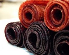 Homemade fruit roll-ups using frozen berries. Awesome website with lots of recipes to substitute for all that processed stuff.