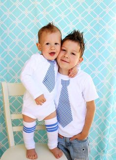 Set of 3. 2 Tie Shirts & 1 Pair of Leg Warmers. Big Brother Little Brother Tie Shirts. Christmas Gift Card Picture, Matching Football Stripe.