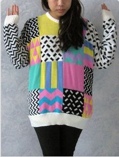 Looking back, I can't believe sweaters with patterns like this were popular in the 80's. I guess it is easy to understand knowing that plastic jewelry was also a BIG trend. Boy did we look cheap!!!