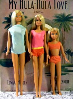 Oh, how I loved my Malibu Barbie (and Francie, and Skipper). Only Ken in his red trunks is missing!