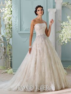 David Tutera Couture - Hand-beaded Corded Metallic Lace over Allover Metallic Embroidery & Tulle over Satin - Final Sale