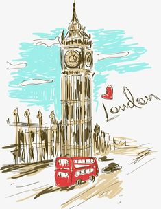 Illustration of Colorful sketch illustration of Big Ben tower in London vector art, clipart and stock vectors. London Shopping, London Travel, London Life, London Art, London Food, London Painting, London Illustration, London Poster, Big Ben London