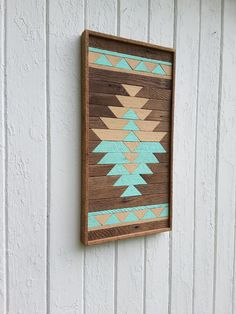 "Reclaimed Wood Wall Art, Kilim Design, Painted Diamond, Wall Decor, Geometric, Mosaic Art, Natural and Painted 13"" by 24"""