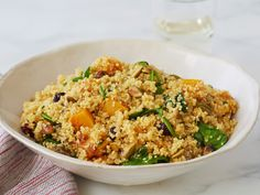 Recipe of the Day: Quinoa with Roasted Butternut Squash Toss fluffy quinoa with morsels of roasted butternut squash, crunchy pistachios and tart dried cranberries for a fall-forward dish (that's also the dream take-and-eat potluck dish).