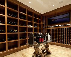 Contemporary Rift Walnut Wine Cellar - contemporary - wine cellar - vancouver - Radius Architectural Millwork Ltd. Vancouver, Home Wine Cellars, Wine Cellar Design, Wine Cabinets, Wine And Beer, Tasting Room, Wine Storage, Bars For Home, Wine Rack