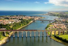 Royal Border Bridge Berwick upon Tweed Northumberland. A small seaside town with a huge history between England and Scotland Had a lovely holiday there in 2008 Beautiful Places In England, Northumberland Coast, Berwick Upon Tweed, Tourist Information, England And Scotland, British Isles, Aerial View, Lake District, Places To See