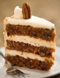 Sugar Free Carrot Cake  This is a very filling, moist cake. Nuts give it extra bite but can easily be removed if someone suffers from an allergy.  Ingredients:  200g (7oz) butter  Five tbsp honey  Four large eggs  500g (1lb 1oz) grated carrots  150g (5oz) chopped walnuts  300g (10.5oz) plain flour  Two tsp bicarbonate of soda  Pinch of salt  One tsp ground allspice