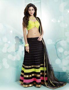 USD 106.89 Black Lace Work Net Party Wear Lehenga Choli 34425