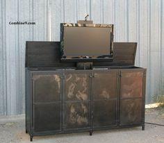 TV Lift Cabinet. Vintage Industrial Style. Modern. Urban. Motorized.