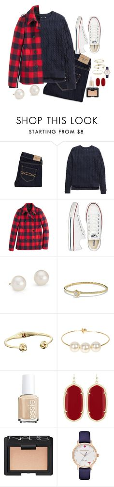 """""""Navy is my spirt animal"""" by lexii-campbelll ❤ liked on Polyvore featuring Abercrombie & Fitch, H&M, J.Crew, Converse, Blue Nile, David Yurman, Kate Spade, Jules Smith, Essie and Kendra Scott"""