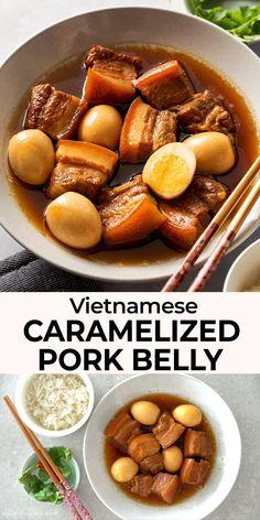 Pork Recipes, Asian Pork Belly Recipes, Asian Recipes, Mexican Food Recipes, Cooking Recipes, Vietnamese Pork, Vietnamese Cuisine, Vietnamese Recipes, Thit Kho Recipe