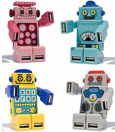 Robot USB 4 Port HUB / USB Connection on Arms and Legs / 2.0 Hi-Speed / Light Up