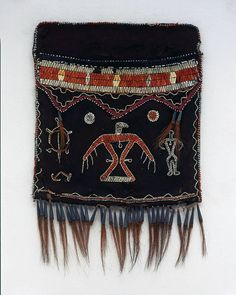 Anishinaabe, Ojibwa Ontario Shoulder bag (without strap) c. 1820 Hide, porcupine quills, tin cones, silk ribbon, dyed hair