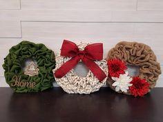 Small Holiday Wreaths. . . #goldenforrest #goldenforrestcreations #burlapwreath #burlap #wreath #red #green #chevron #ribbon #home #ribbon #bow #flowers #tree #christmastree #wreathideas #doordecor #seaonsaldecor #holidaydecor #christmasdecor Chevron Ribbon, Green Chevron, Holiday Wreaths, Christmas Decorations, Holiday Decor, Christmas Holidays, Christmas Tree, Burlap Wreath, Red Green