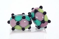 Lampwork Bead Earring beads-Bright Lime-Teal and Amethyst  Harlequin Style-  SRA Sharpline Designs: I have these - they are beautiful!  Thank you!