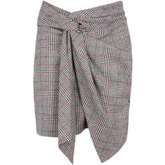 Isabel Marant Kim Prince of Wales-checked skirt (24.045 RUB) ❤ liked on Polyvore featuring skirts, wrap around skirt, knot skirt, wraparound skirt, wrap skirts and tweed skirts
