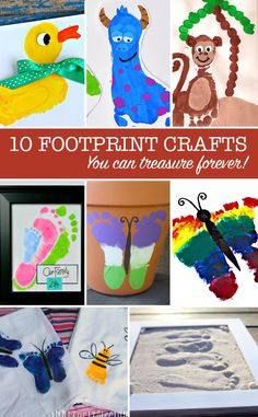 These footprint crafts are a great way to teach your toddler about their feet - but make great gifts too!