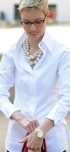 THE LOOK: Classic White blouse + Classic Chunky Pearls | LBV ♥✤ - blouses, flower, satin, styles, bow, casual blouse *ad