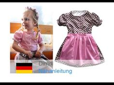 Sew dirndl / traditional dress / dress with apron - Sewing pattern Kinderdirndl by Zierstoff - YouTu Baby Dirndl, Dirndl Dress, Sewing For Kids, Diy For Kids, Sewing Aprons, Traditional Dresses, Vintage Outfits, Vintage Clothing, Little Girls