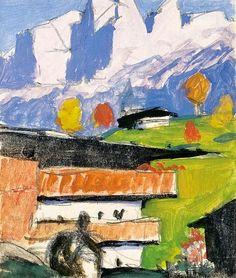 Alfons Walde (Austrian, Gehöft am Wilden Kaiser. Mixed media on paper, x cm Wilder Kaiser, Landscape Paintings, Landscapes, Austria, Illustrations, Mixed Media, Vintage, Paper, Pictures