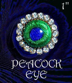 Image Copyright by RC Larner ~ Early 20th C. Peacock Eye Glass in Rhinestones and Brass Button ~ R C Larner Buttons at eBay  http://stores.ebay.com/RC-LARNER-BUTTONS