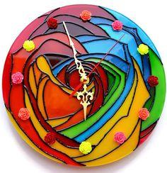 Abstract wall clock Stained glass clock Art wall clock Flower wall clock Modern wall clock Unique clock Handmade Glass clock Abstract rose #clock #wallclock #abstractart #etsy