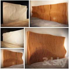 models: Other decorative objects - Parametric partitions Curved Wood, Curved Walls, Solid Wood, Panneau Mural 3d, Wood Facade, Timber Slats, 3d Cnc, 3d Wall Panels, Wooden Wall Panels