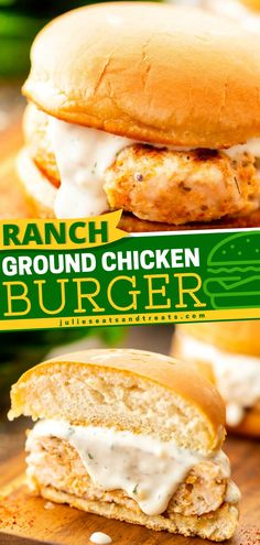 Explore this Ranch Ground Chicken Burger from our Father's Day dinner menu. This ground chicken burger complemented with ranch dressing is the best meal to seal the day! Man up and treat your dad with this chicken burger. Chicken Ranch Burgers, Ground Chicken Burgers, Good Food, Yummy Food, Yummy Recipes, Best Sandwich, Easy Food To Make, Ranch Dressing, Dinner Menu