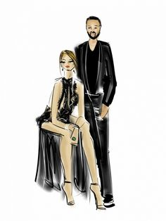 An illustration of Chrissy Teigen and John Legend's VMA looks by Emily Brickel