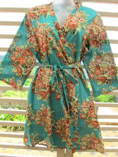 Kimono Robe - Cover up - Cotton Robe - Mid Thigh Length - Bridesmaids favor - getting ready robe -. $30.00, via Etsy.