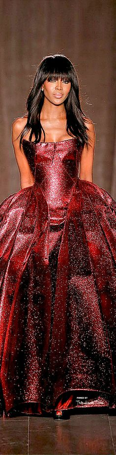 #NYFW Zac Posen Fall 2015 RTW. Wow, what a color. And sparkle! Though with a formal gown like this, you've gotta put your hair up. This combination of casual hair and formal gown doesn't work.