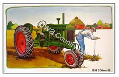 NEW 1939 OLIVER 80 TRACTOR LAMINATED PLACEMATS / WALL HANGINGS SET OF 4 #Oliver