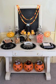 Check out this spider inspired Halloween Party. The dessert table is so much fun!! See more party ideas and share yours at CatchMyParty.com #halloween #desserttable