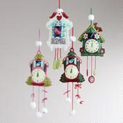 Embroidered Felt Cuckoo Clock Ornaments