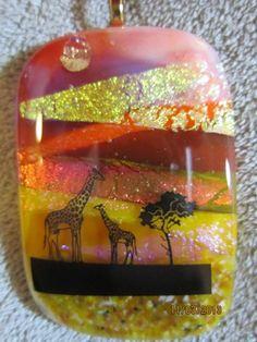 AFRICAN GIRAFFE DICHROIC GLASS PENDANT BY IMAGINATIVE CREATIONS   Imaginative_Creations - Jewelry on ArtFire
