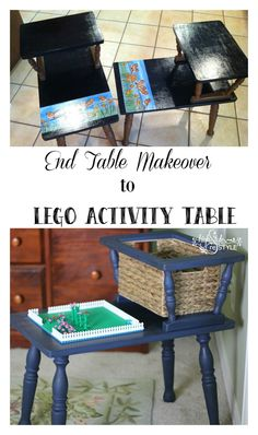 DIY Lego Activity Table by Highstyle ReStyle. How to convert an outdated telephone or end table to a Lego activity center. http://www.highstylerestyle.com/blog/diy-lego-activity-table