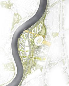 Генеральный план ландшафтного дизайна. Концепция многофункционального жилого комплекса с объектами социальной инфраструктуры © АБ «Остоженка» (благоустройство Gillespies по концепции АБ «Остоженка»)