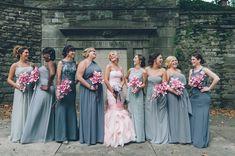 GREAT mismatched bridal party! Blush pink wedding dress. #bridesmaid #blushpinkweddingdress