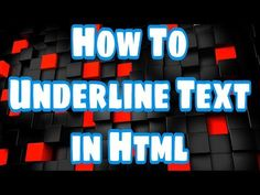 How to underline text in HTML - YouTube #HTML #Learn