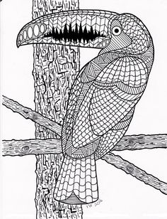 Toucan / Exotic Bird Zentangle Coloring Page by InspirationbyVicki