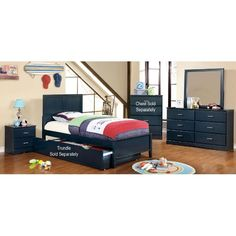 Clearance Classic Navy Blue 4 Piece Twin Bedroom Set   Prismo