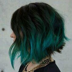 Green ombre hair.