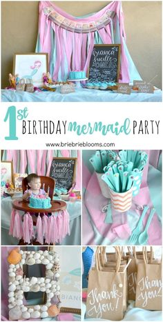 This First Birthday Mermaid Party is beautiful. The whimsical pink and turquoise… This first birthday mermaid party is beautiful. The bizarre pink and turquoise theme was further embellished by pearls. Baby Girl 1st Birthday, 1st Birthday Girls, First Birthday Parties, First Birthdays, Cake Birthday, Birthday Gifts, Girls First Birthday Theme Ideas, Mermaid Theme Birthday, Party Hard