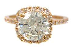 18k rose gold diamond engagement ring prong set art deco 1.62ctw