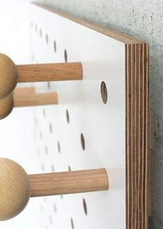 Edge detail of birch plywood pegboard by Kreisdesign